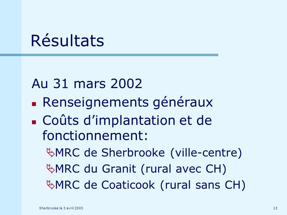 Sherbrooke le 3 avril 200313 Résultats Au 31 mars 2002 Renseignements généraux Coûts dimplantation et de fonctionnement: MRC de Sherbrooke (ville-centre) MRC du Granit (rural avec CH) MRC de Coaticook (rural sans CH)