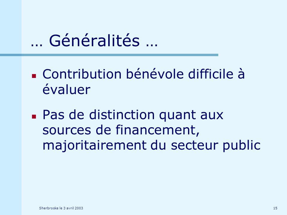 Sherbrooke le 3 avril 200315 … Généralités … Contribution bénévole difficile à évaluer Pas de distinction quant aux sources de financement, majoritairement du secteur public