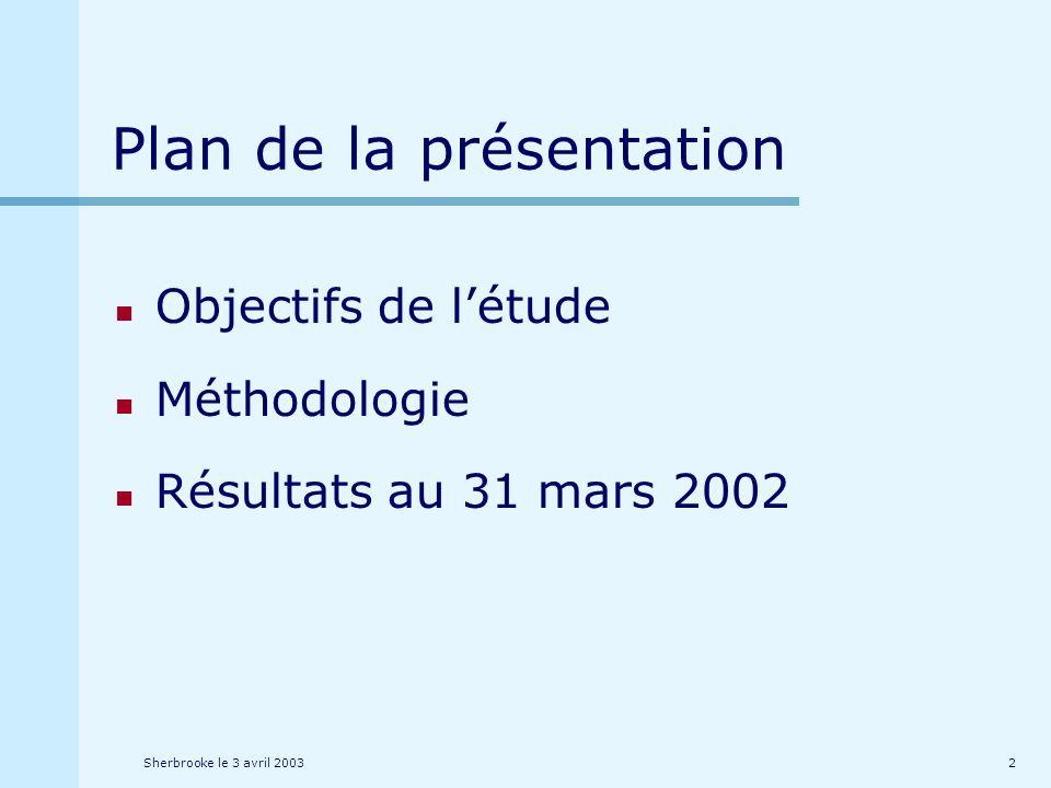 Sherbrooke le 3 avril 20032 Plan de la présentation Objectifs de létude Méthodologie Résultats au 31 mars 2002