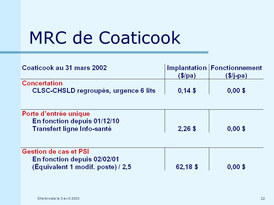 Sherbrooke le 3 avril 200322 MRC de Coaticook