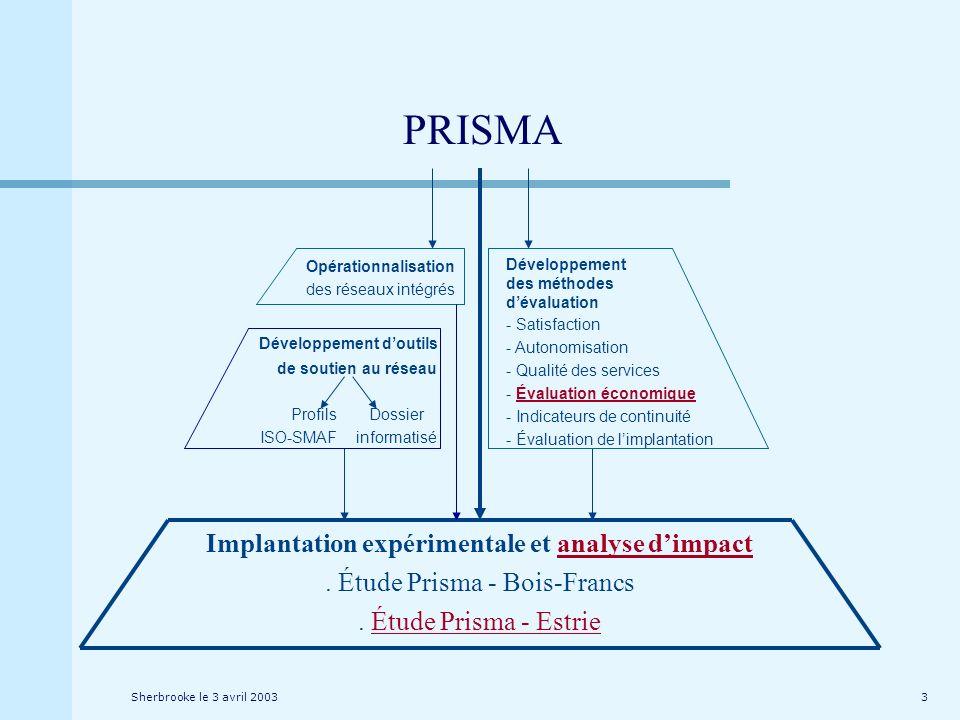 Sherbrooke le 3 avril 20033 Implantation expérimentale et analyse dimpact. Étude Prisma - Bois-Francs. Étude Prisma - Estrie Opérationnalisation des r