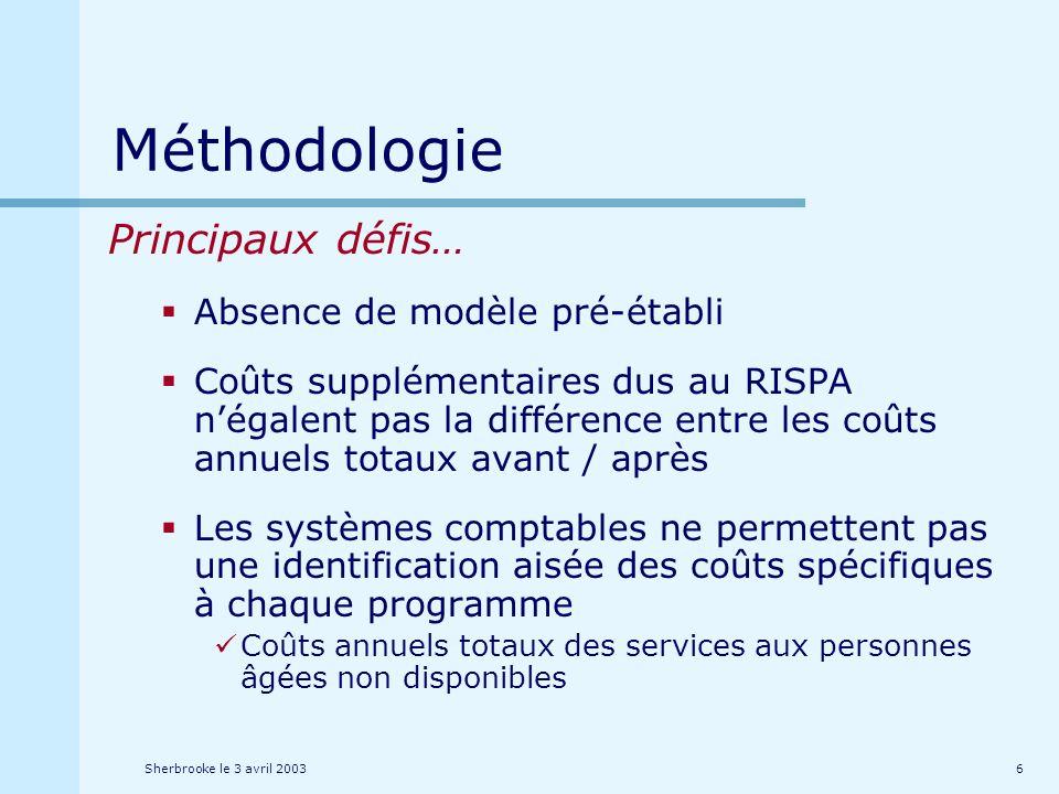 Sherbrooke le 3 avril 20037 Méthodologie … Principaux défis Budgets « RISPA » ne correspondent pas aux ressources utilisées pour RISPA Ressources puisées à même les budgets de lorganisation (hors personnes âgées) Ressources « hors organisation » Ressources bénévoles Budgets RISPA et amélioration de loffre de services Microanalyse