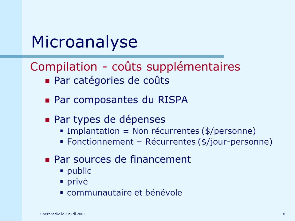 Sherbrooke le 3 avril 20038 Microanalyse Compilation - coûts supplémentaires Par catégories de coûts Par composantes du RISPA Par types de dépenses Implantation = Non récurrentes ($/personne) Fonctionnement = Récurrentes ($/jour-personne) Par sources de financement public privé communautaire et bénévole