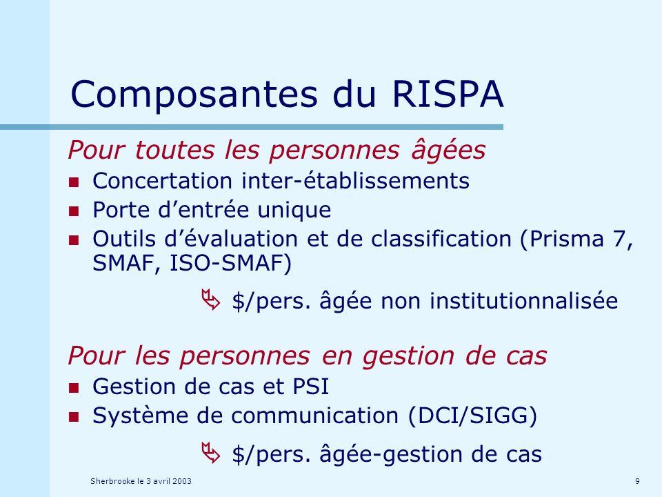 Sherbrooke le 3 avril 20039 Composantes du RISPA Pour toutes les personnes âgées Concertation inter-établissements Porte dentrée unique Outils dévaluation et de classification (Prisma 7, SMAF, ISO-SMAF) $/pers.