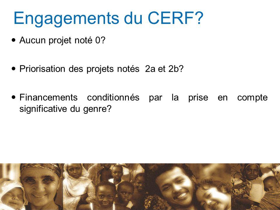 Engagements du CERF? Aucun projet noté 0? Priorisation des projets notés 2a et 2b? Financements conditionnés par la prise en compte significative du g