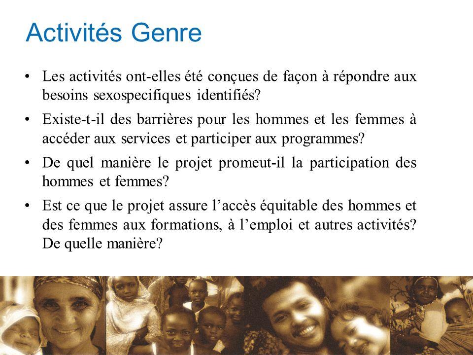 Les activités ont-elles été conçues de façon à répondre aux besoins sexospecifiques identifiés? Existe-t-il des barrières pour les hommes et les femme