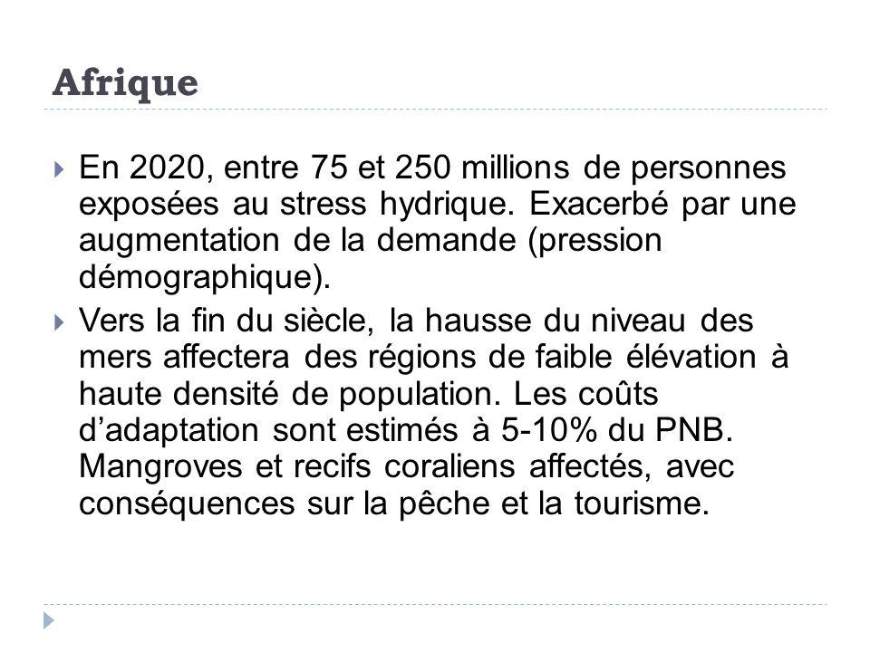 Afrique En 2020, entre 75 et 250 millions de personnes exposées au stress hydrique.