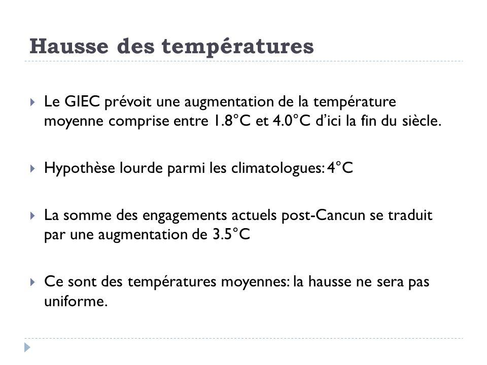 Hausse des températures Le GIEC prévoit une augmentation de la température moyenne comprise entre 1.8°C et 4.0°C dici la fin du siècle.