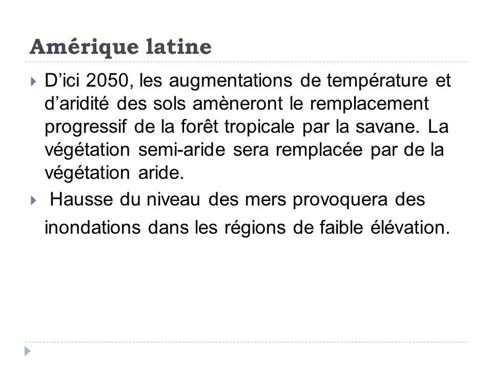 Amérique latine Dici 2050, les augmentations de température et daridité des sols amèneront le remplacement progressif de la forêt tropicale par la savane.