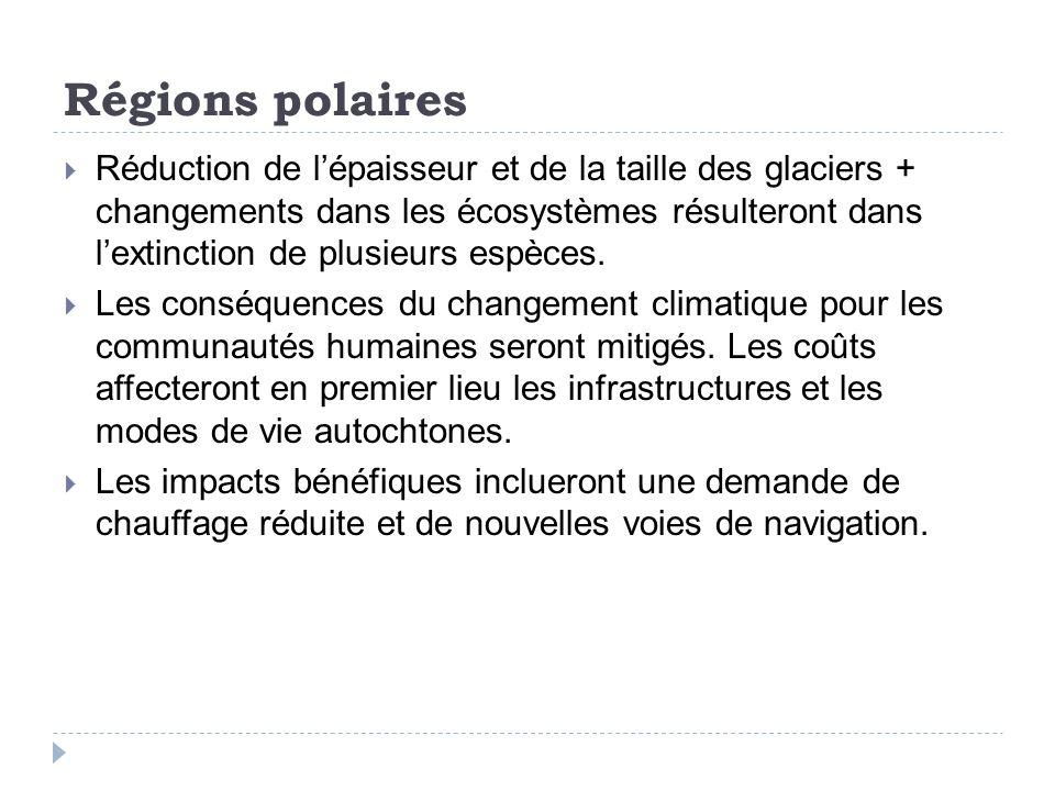 Régions polaires Réduction de lépaisseur et de la taille des glaciers + changements dans les écosystèmes résulteront dans lextinction de plusieurs espèces.