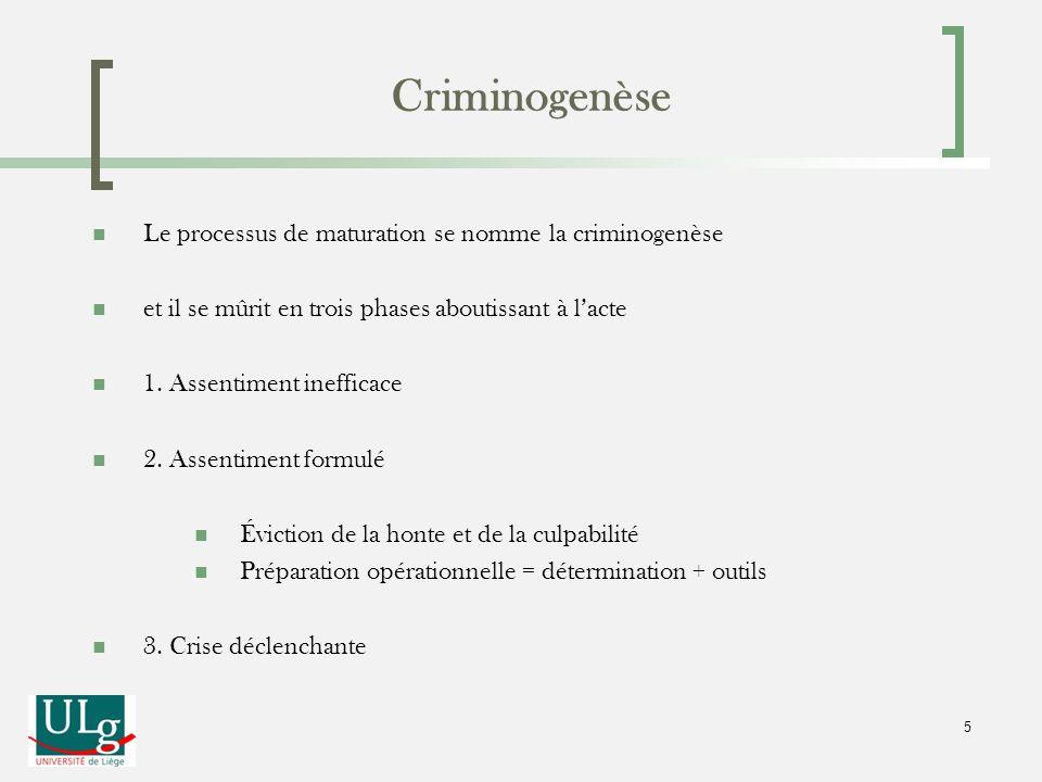 Le processus de maturation se nomme la criminogenèse et il se mûrit en trois phases aboutissant à lacte 1. Assentiment inefficace 2. Assentiment formu