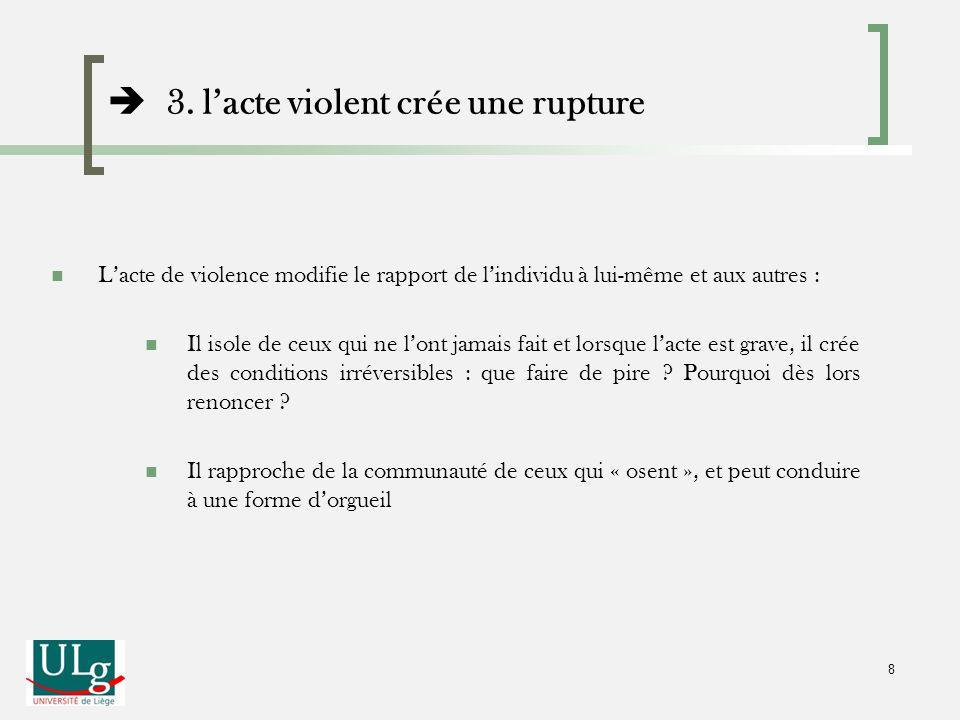 3. lacte violent crée une rupture Lacte de violence modifie le rapport de lindividu à lui-même et aux autres : Il isole de ceux qui ne lont jamais fai
