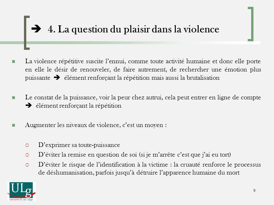 La violence répétitive suscite lennui, comme toute activité humaine et donc elle porte en elle le désir de renouveler, de faire autrement, de recherch