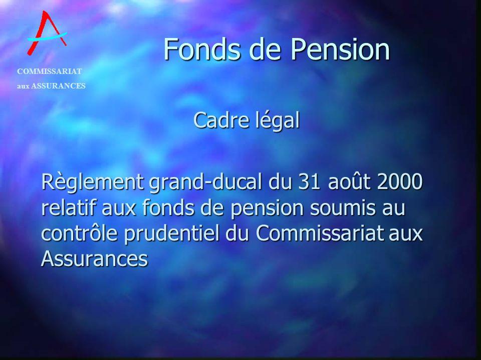 COMMISSARIAT aux ASSURANCES Fonds de Pension Cadre légal Règlement grand-ducal du 31 août 2000 relatif aux fonds de pension soumis au contrôle prudent