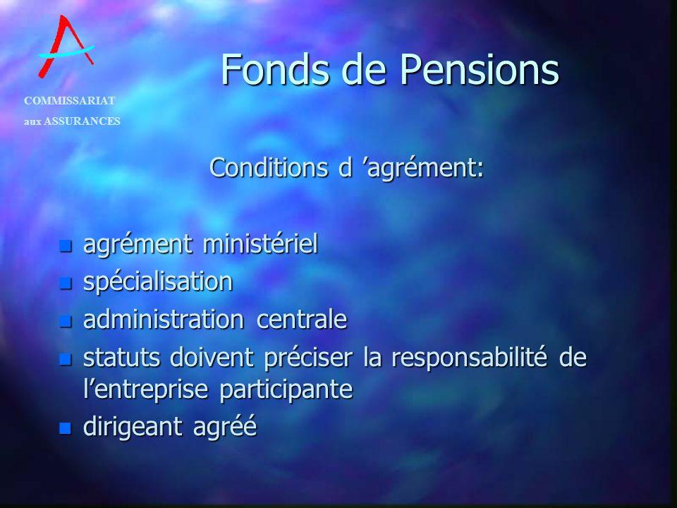 COMMISSARIAT aux ASSURANCES Fonds de Pensions Conditions d agrément: n agrément ministériel n spécialisation n administration centrale n statuts doive