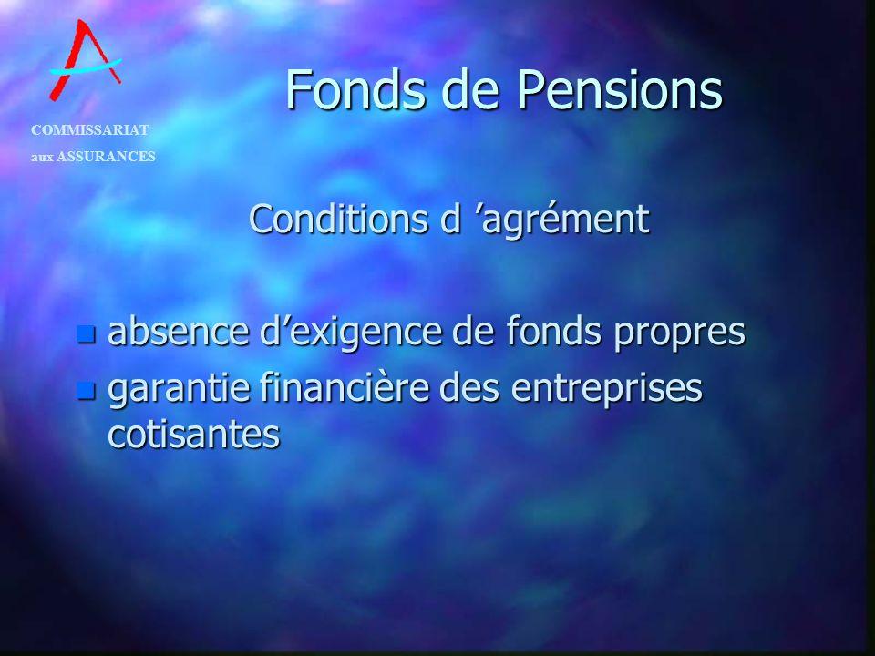 COMMISSARIAT aux ASSURANCES Fonds de Pensions Conditions d agrément n absence dexigence de fonds propres n garantie financière des entreprises cotisan
