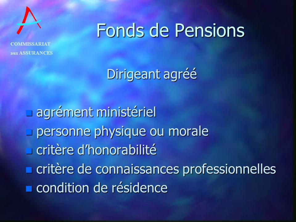 COMMISSARIAT aux ASSURANCES Fonds de Pensions Dirigeant agréé n agrément ministériel n personne physique ou morale n critère dhonorabilité n critère d