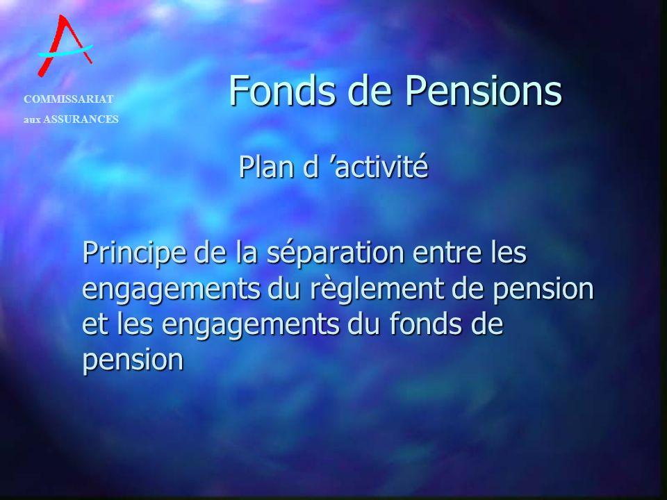 COMMISSARIAT aux ASSURANCES Fonds de Pensions Plan d activité Principe de la séparation entre les engagements du règlement de pension et les engagemen