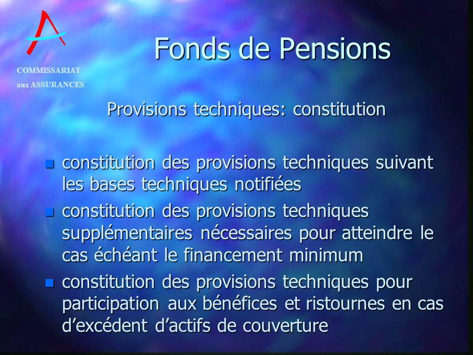 COMMISSARIAT aux ASSURANCES Fonds de Pensions Provisions techniques: constitution n constitution des provisions techniques suivant les bases technique