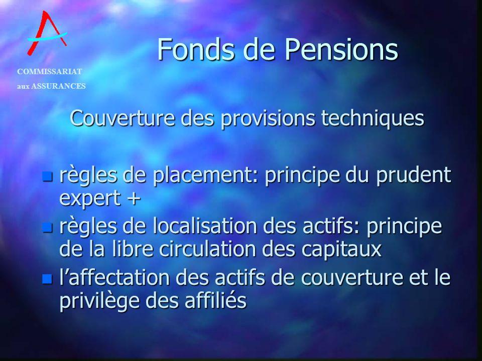 COMMISSARIAT aux ASSURANCES Fonds de Pensions Couverture des provisions techniques n règles de placement: principe du prudent expert + n règles de loc