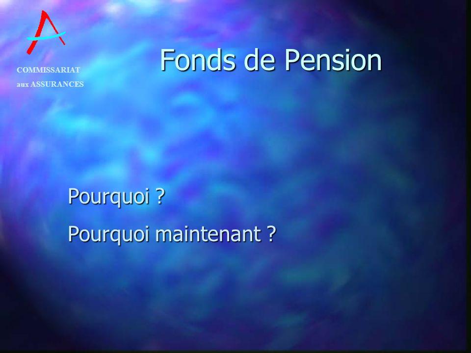 COMMISSARIAT aux ASSURANCES Fonds de Pension n Remplace le règlement grand-ducal du 16 novembre 1977 n Exécute la loi du 8 juin 1999 relative aux régimes complémentaires de pension n Crée un instrument à vocation internationale