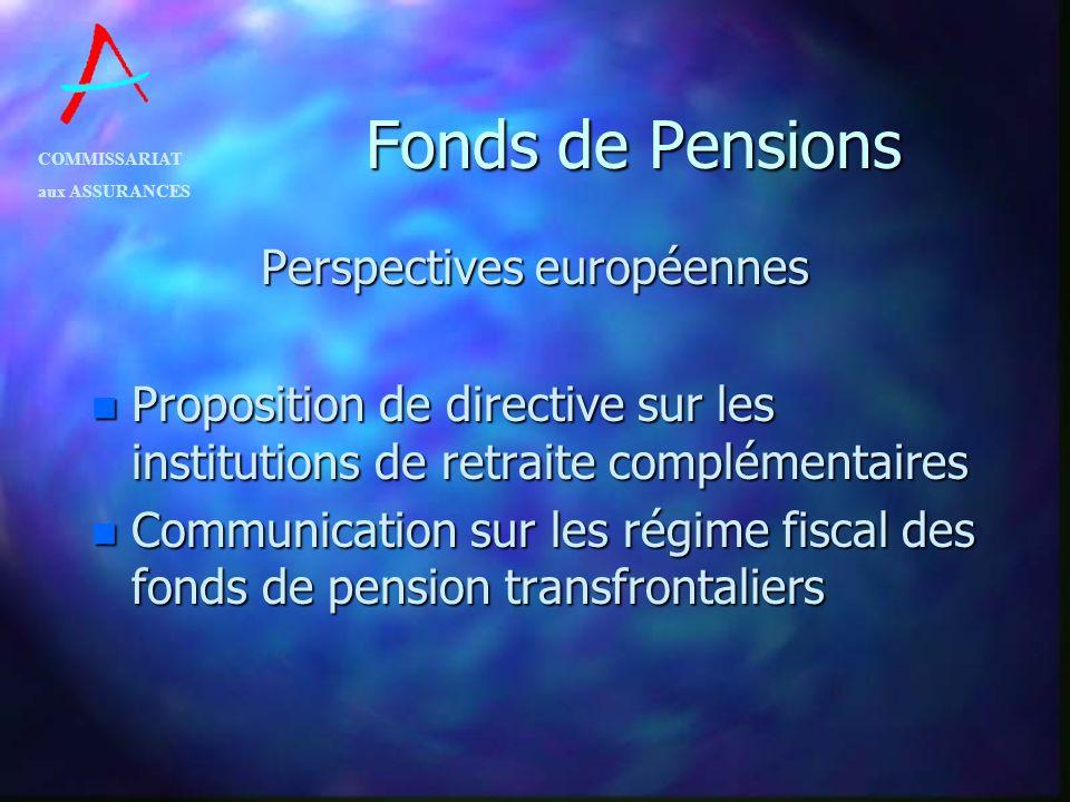 COMMISSARIAT aux ASSURANCES Fonds de Pensions Perspectives européennes n Proposition de directive sur les institutions de retraite complémentaires n C