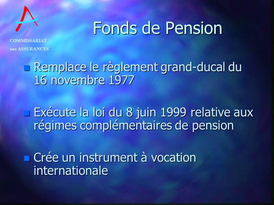 COMMISSARIAT aux ASSURANCES Fonds de Pension n Remplace le règlement grand-ducal du 16 novembre 1977 n Exécute la loi du 8 juin 1999 relative aux régi