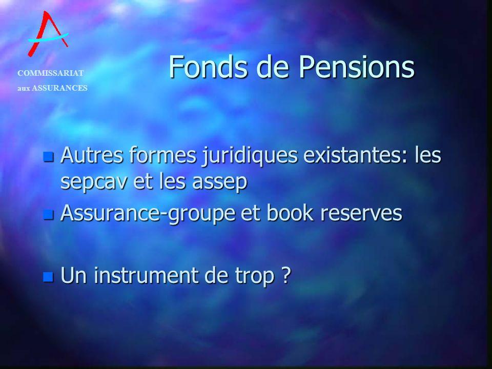 COMMISSARIAT aux ASSURANCES Fonds de Pensions n Autres formes juridiques existantes: les sepcav et les assep n Assurance-groupe et book reserves n Un