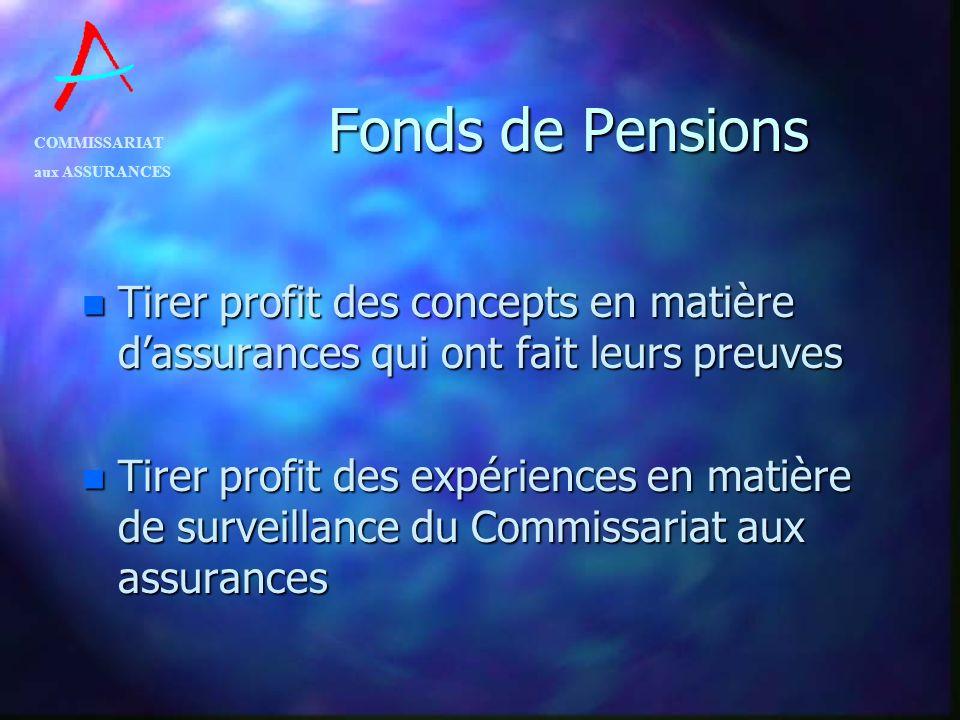 COMMISSARIAT aux ASSURANCES Fonds de Pensions n Tirer profit des concepts en matière dassurances qui ont fait leurs preuves n Tirer profit des expérie