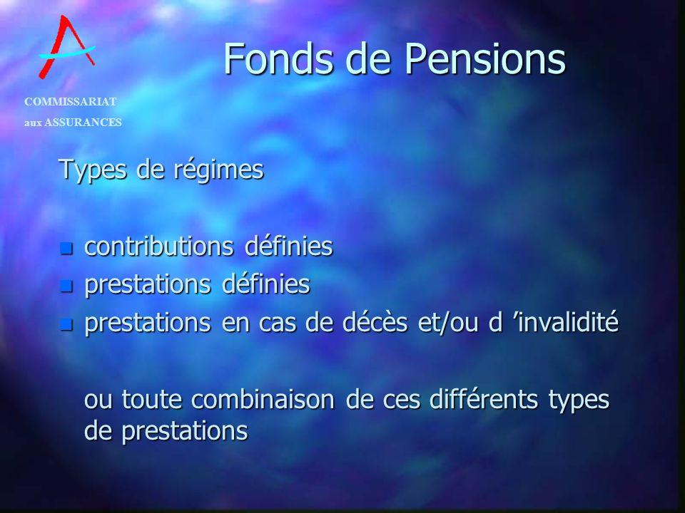 COMMISSARIAT aux ASSURANCES Fonds de Pensions Types de régimes n contributions de lemployeur n contributions des salariés n mais responsabilité de lemployeur pour lensemble du régime