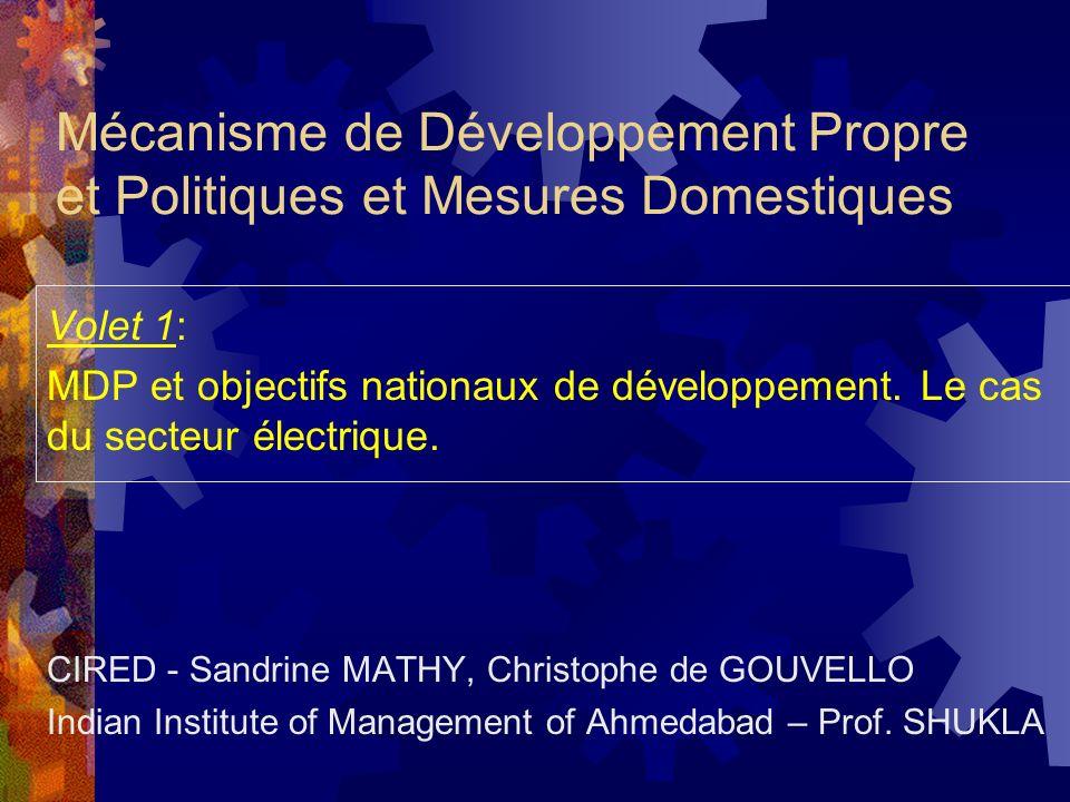 Mécanisme de Développement Propre et Politiques et Mesures Domestiques Volet 1: MDP et objectifs nationaux de développement.