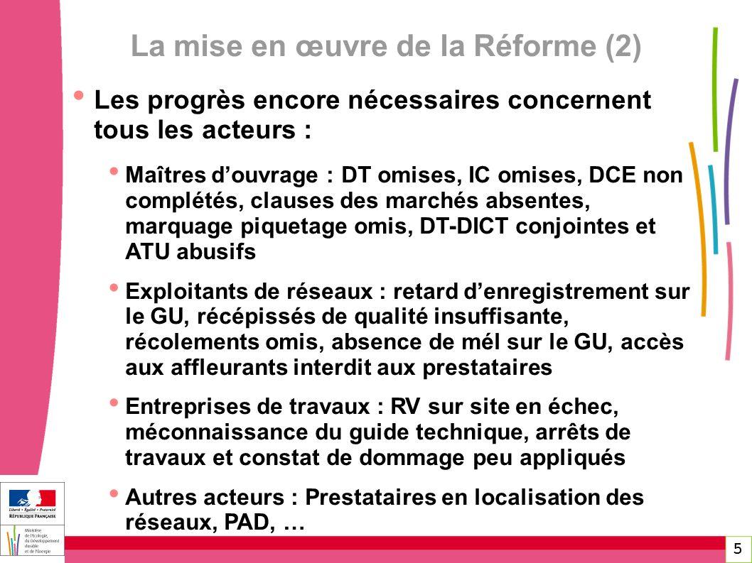 5 La mise en œuvre de la Réforme (2) Les progrès encore nécessaires concernent tous les acteurs : Maîtres douvrage : DT omises, IC omises, DCE non com