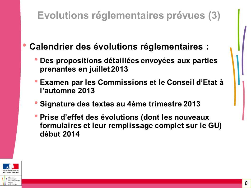 8 Calendrier des évolutions réglementaires : Des propositions détaillées envoyées aux parties prenantes en juillet 2013 Examen par les Commissions et