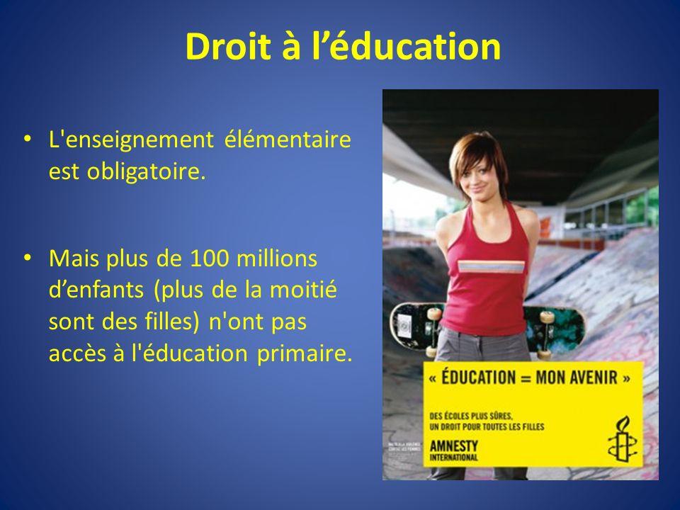 Droit à léducation L enseignement élémentaire est obligatoire.