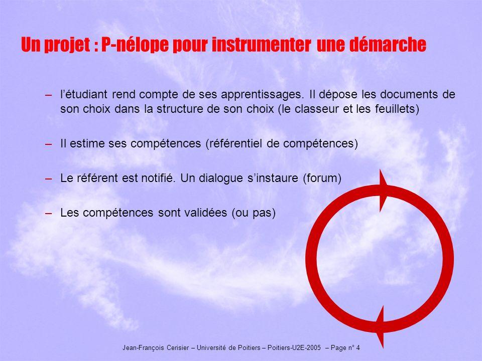 Jean-François Cerisier – Université de Poitiers – Poitiers-U2E-2005 – Page n° 4 Un projet : P-nélope pour instrumenter une démarche –létudiant rend compte de ses apprentissages.