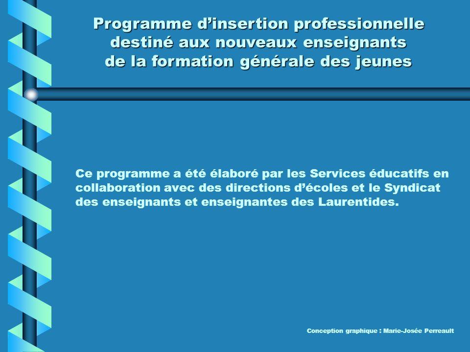 Programme dinsertion professionnelle destiné aux nouveaux enseignants Commission scolaire des Laurentides Le 13 septembre 2006