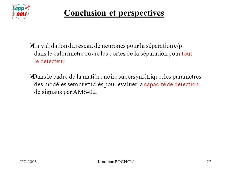JJC 2003Jonathan POCHON22 Conclusion et perspectives La validation du réseau de neurones pour la séparation e/p dans le calorimètre ouvre les portes d