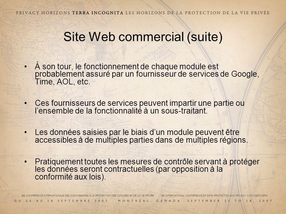 29e CONFÉRENCE INTERNATIONALE DES COMMISSAIRES À LA PROTECTION DES DONNÉES ET DE LA VIE PRIVÉE 29 th INTERNATIONAL CONFERENCE OF DATA PROTECTION AND PRIVACY COMMISSIONERS Site Web commercial (suite) À son tour, le fonctionnement de chaque module est probablement assuré par un fournisseur de services de Google, Time, AOL, etc.