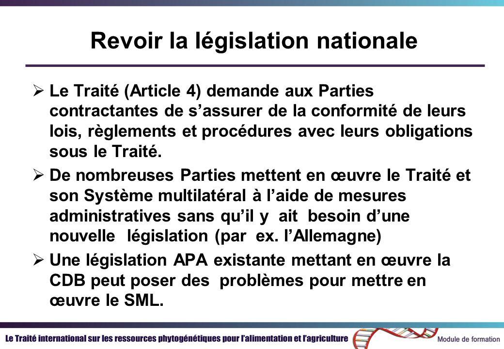 Revoir la législation nationale Le Traité (Article 4) demande aux Parties contractantes de sassurer de la conformité de leurs lois, règlements et procédures avec leurs obligations sous le Traité.