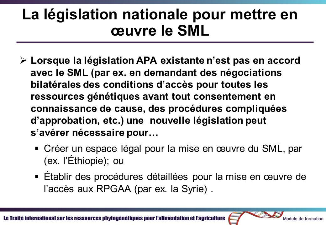 La législation nationale pour mettre en œuvre le SML Lorsque la législation APA existante nest pas en accord avec le SML (par ex.