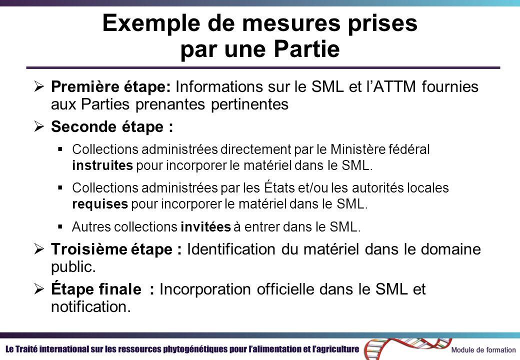 Exemple de mesures prises par une Partie Première étape: Informations sur le SML et lATTM fournies aux Parties prenantes pertinentes Seconde étape : Collections administrées directement par le Ministère fédéral instruites pour incorporer le matériel dans le SML.
