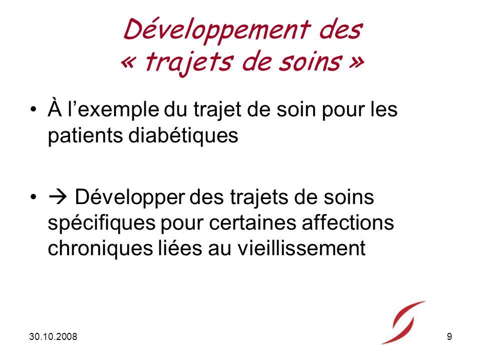 30.10.20089 Développement des « trajets de soins » À lexemple du trajet de soin pour les patients diabétiques Développer des trajets de soins spécifiques pour certaines affections chroniques liées au vieillissement