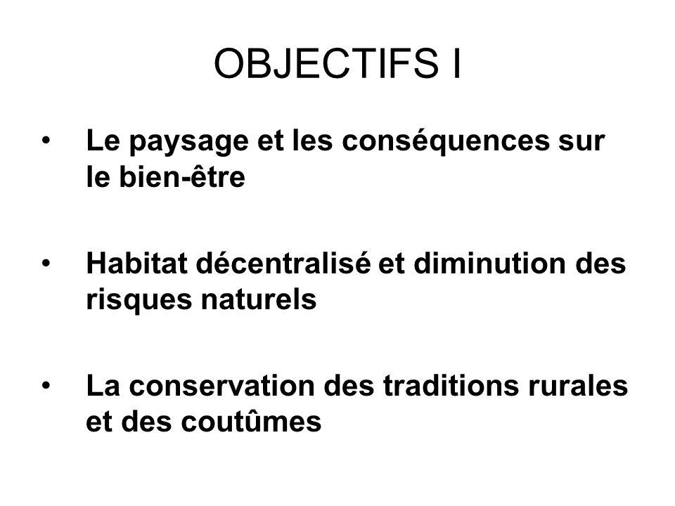 OBJECTIFS I Le paysage et les conséquences sur le bien-être Habitat décentralisé et diminution des risques naturels La conservation des traditions rurales et des coutûmes