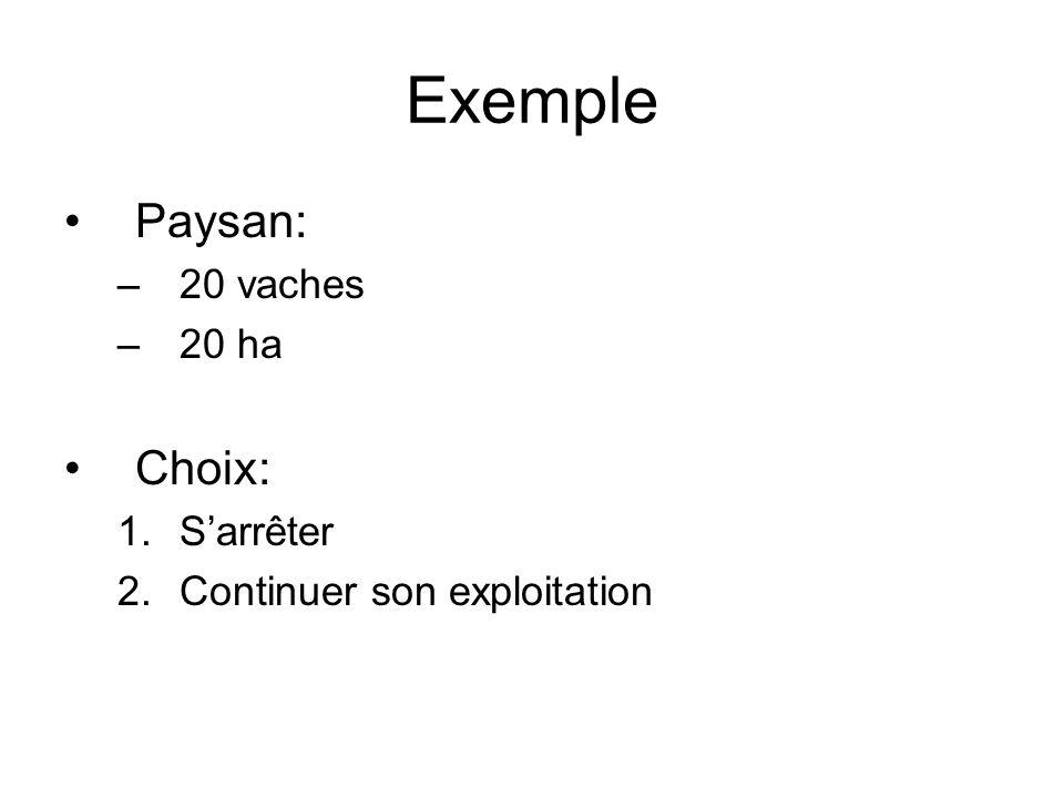 Exemple Paysan: –20 vaches –20 ha Choix: 1.Sarrêter 2.Continuer son exploitation