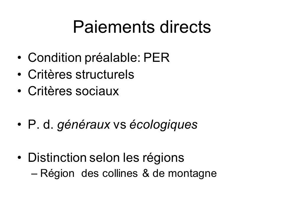 Paiements directs Condition préalable: PER Critères structurels Critères sociaux P.