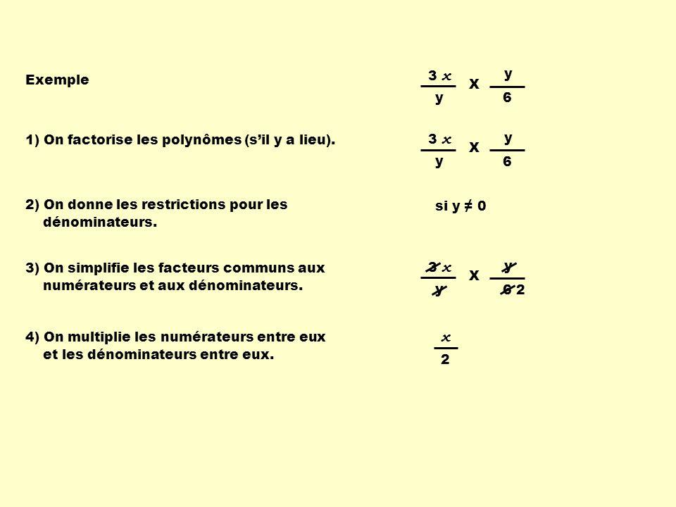 1) On factorise les polynômes (sil y a lieu). 2) On donne les restrictions pour les dénominateurs.