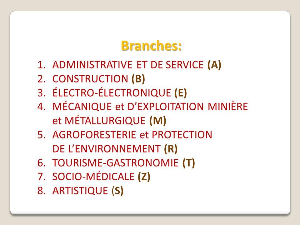 Branches: 1.ADMINISTRATIVE ET DE SERVICE (A) 2.CONSTRUCTION (B) 3.ÉLECTRO-ÉLECTRONIQUE (E) 4.MÉCANIQUE et DEXPLOITATION MINIÈRE et MÉTALLURGIQUE (M) 5.AGROFORESTERIE et PROTECTION DE LENVIRONNEMENT (R) 6.TOURISME-GASTRONOMIE (T) 7.SOCIO-MÉDICALE (Z) 8.ARTISTIQUE (S)