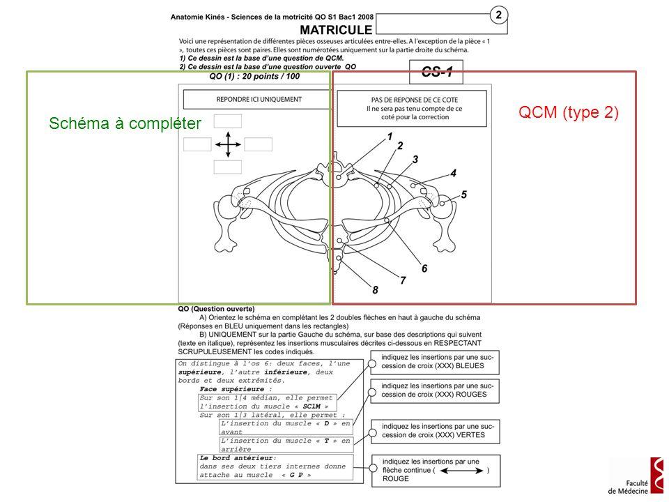 QCM (type 2) Schéma à compléter