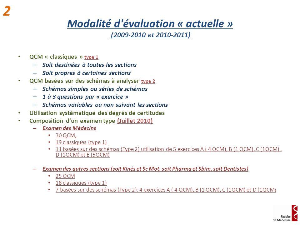 Modalité d'évaluation « actuelle » (2009-2010 et 2010-2011) QCM « classiques » type 1 – Soit destinées à toutes les sections – Soit propres à certaine