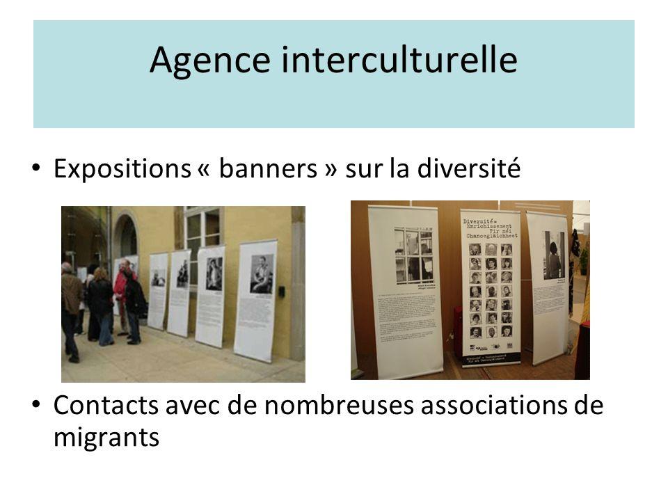 Agence interculturelle Expositions « banners » sur la diversité Contacts avec de nombreuses associations de migrants